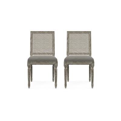 Petite Fleur Rattan Set of 2 Dining Chairs Stone Grey