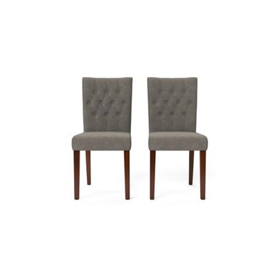 Espen Set of 2 Dining Chairs Dark Brown Solid Beech Stone Grey