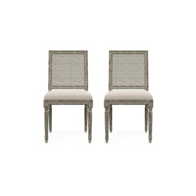 Petite Fleur Rattan Set of 2 Dining Chairs French Beige
