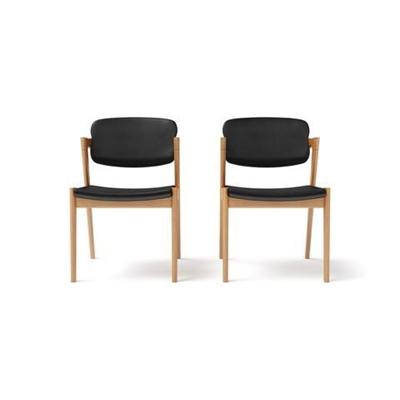 Ingrid 2x Modern Danish Dining Chair Warm Natural Solid Ash Wood