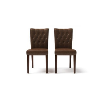 Espen Leather Set of 2 Dining Chairs Walnut Dark Brown Solid Beech