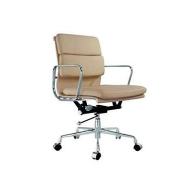 Replica Eames Italian Leather Soft Pad Office Chair, Mid Back, Almond / Silver