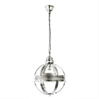 Saxon Small Metal & Glass Pendant Light - Shiny Nickel
