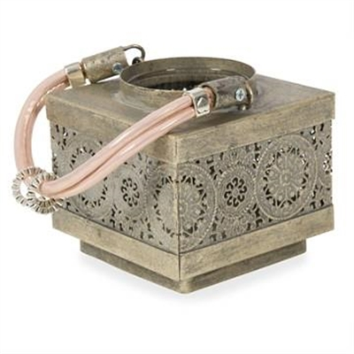 Carey Cutout Metal Square Candle Holder - Pewter