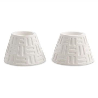 Azuca Set of 2 Cement Candle Holders - White