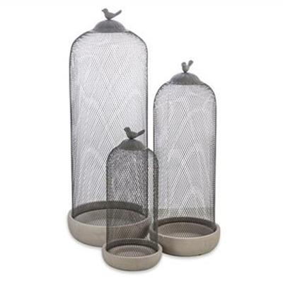 Clarendon 3 Piece Metal and Cement Cage Candle Holder Set