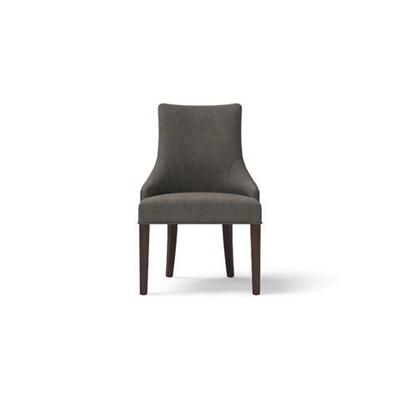 Zoe Scoop Back Dining Chair Dark Brown Solid Beech Stone Grey