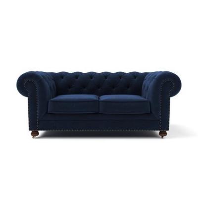 Notting Hill Velvet Chesterfield 2 Seater Sofa Ocean Blue