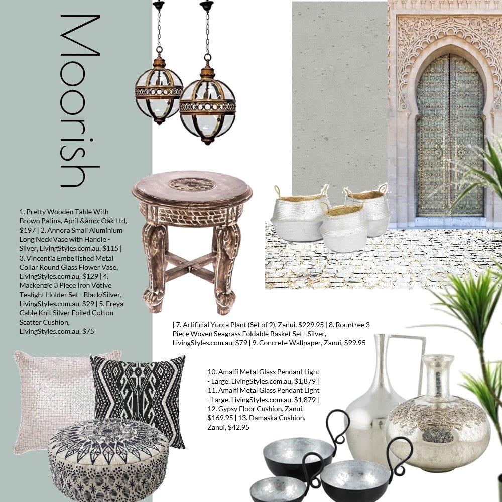 Moorish Interior Design Mood Board by Jo Taylor on Style Sourcebook