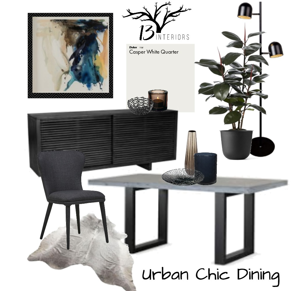 Urban Chic- Dining room Interior Design Mood Board by 13 Interiors on Style Sourcebook