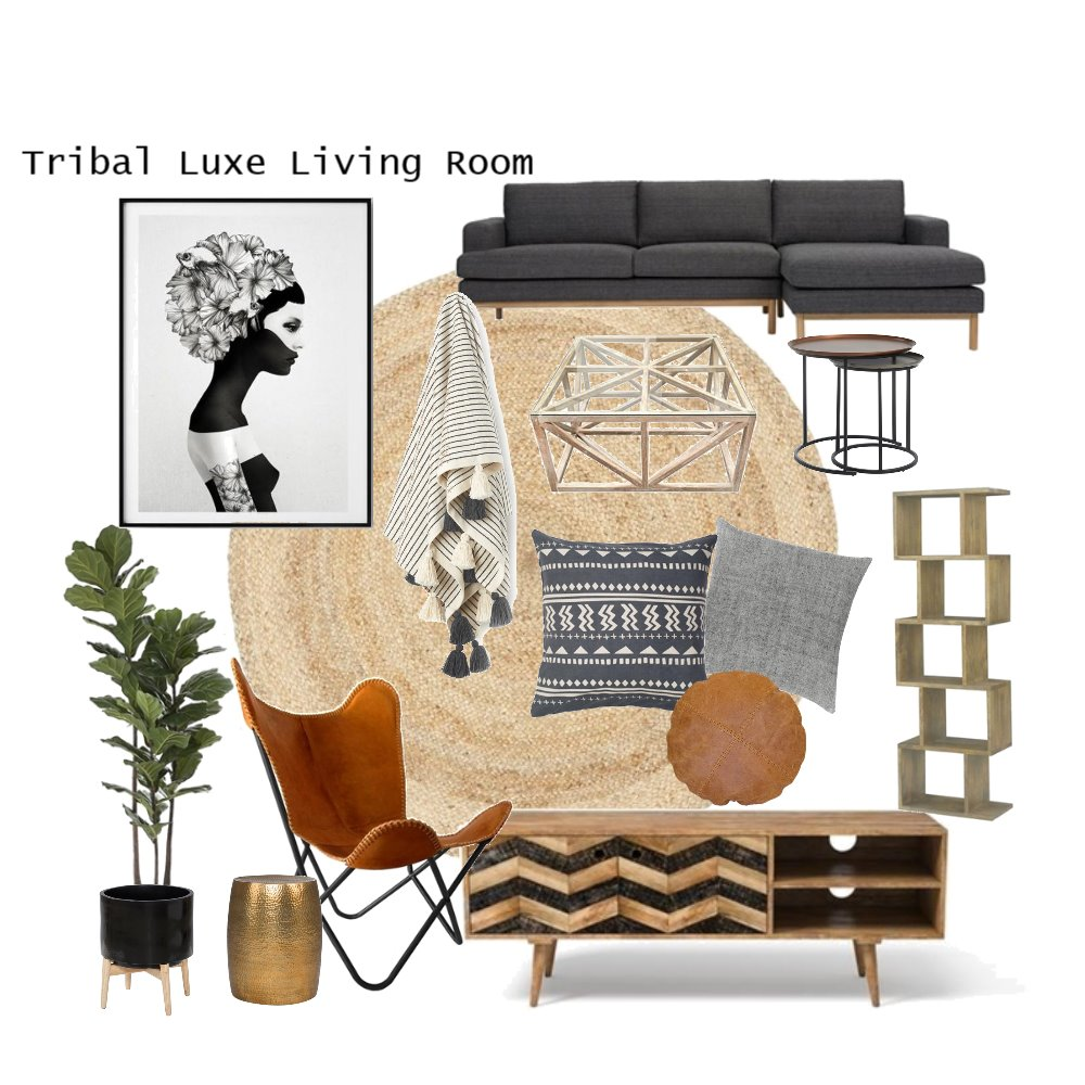 Tribal Luxe Living Room Interior Design Mood Board by AnnabelFoster on Style Sourcebook