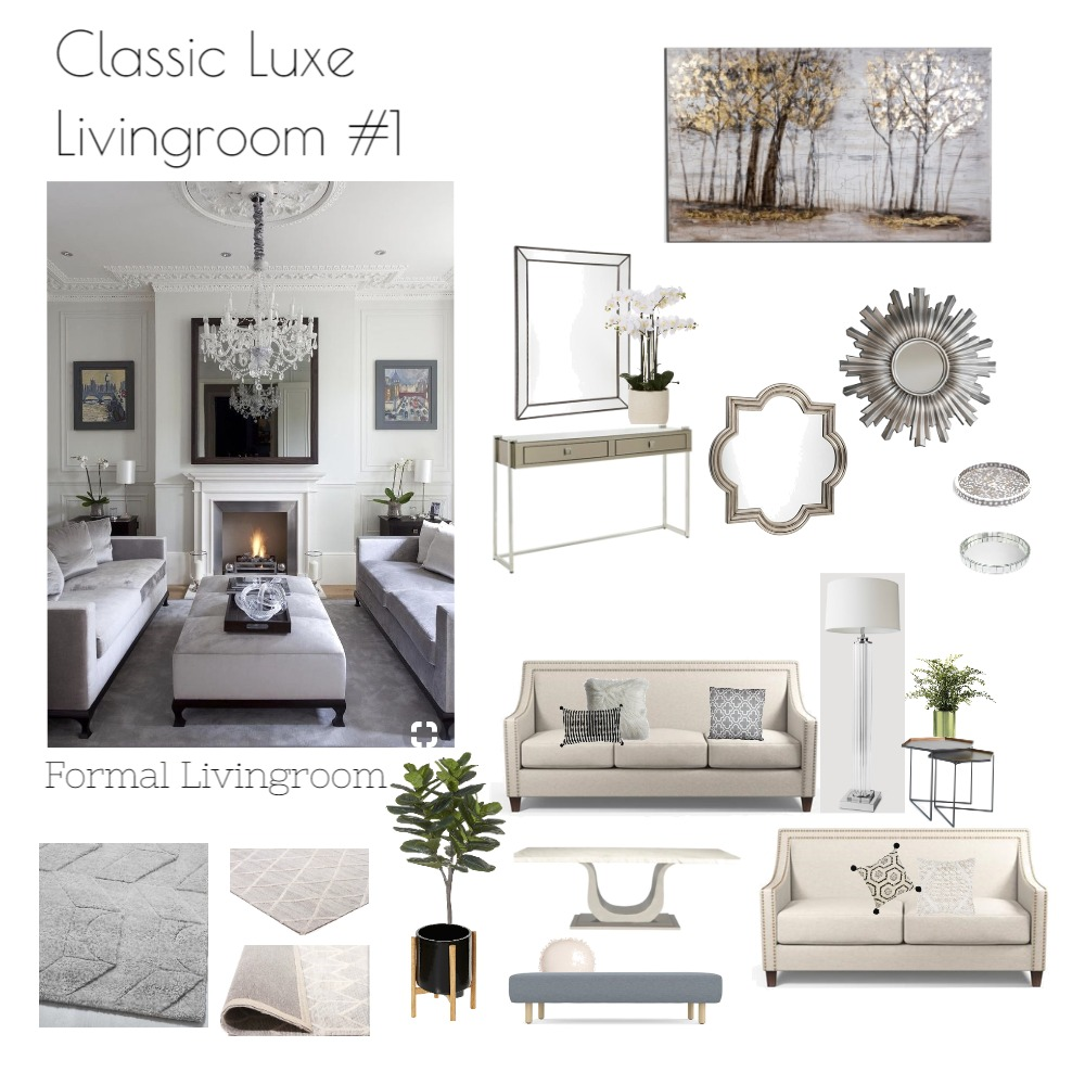 Classic Luxe living Interior Design Mood Board by emmi_loulalay on Style Sourcebook