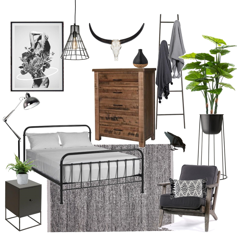 Industrial Bedroom Interior Design Mood Board by braydee on Style Sourcebook