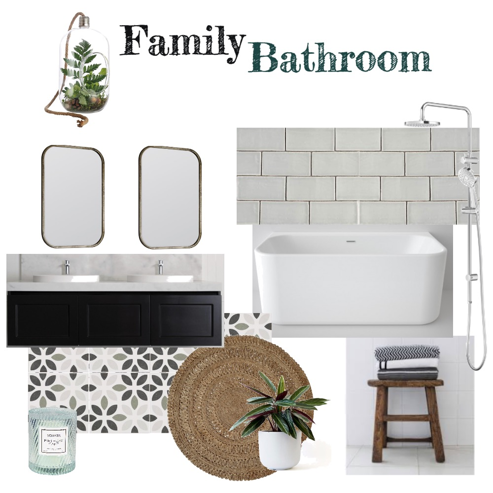 Family Bathroom  (GREY) Interior Design Mood Board by aphraell on Style Sourcebook