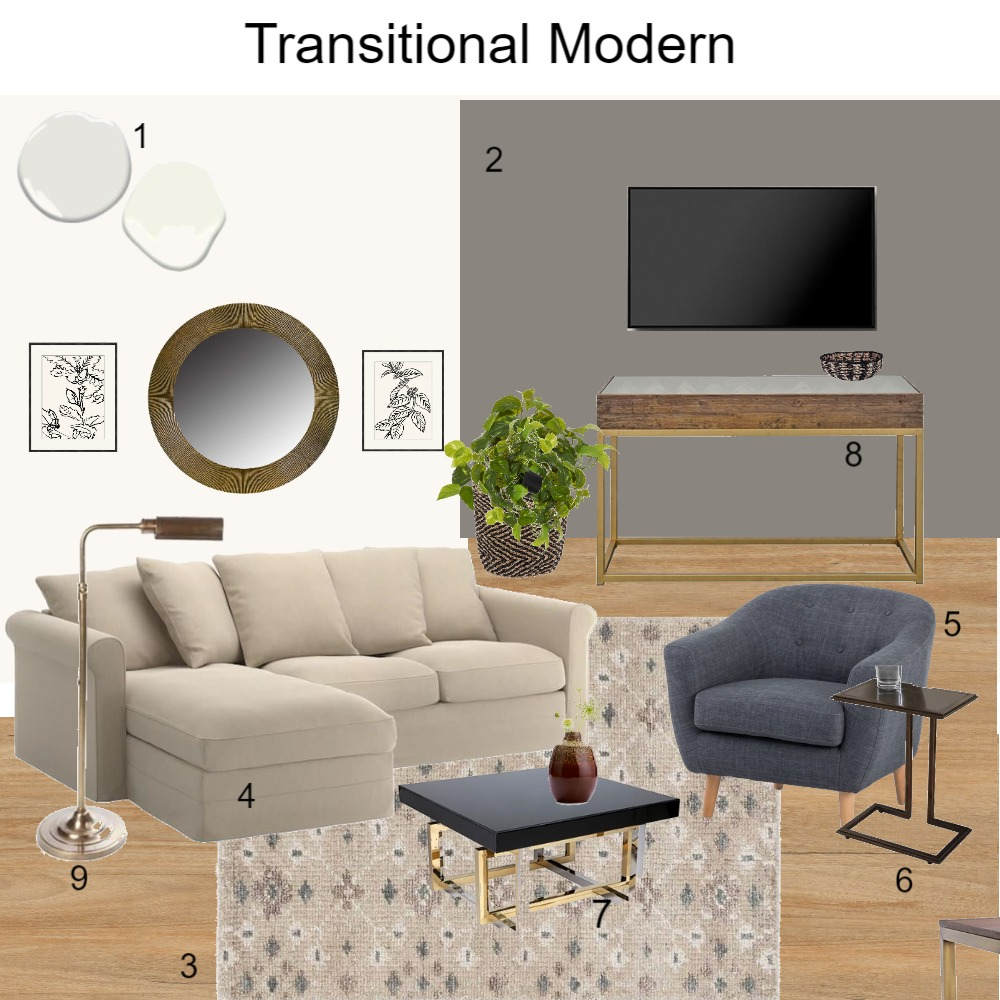 Transitional Modern Interior Design Mood Board by dorothy on Style Sourcebook