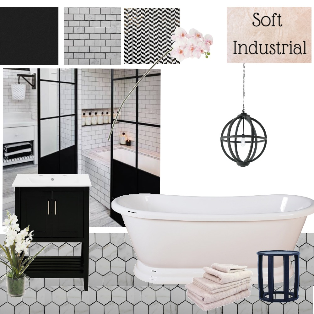 Soft Industrial Bathroom Interior Design Mood Board by LC Interiors on Style Sourcebook