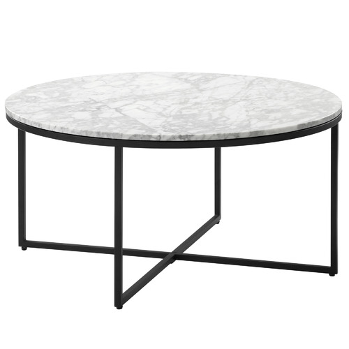 80cm White Serena Italian Carrara Marble Coffee Table Frame Colour: Black by Temple & Webster, a Coffee Table for sale on Style Sourcebook